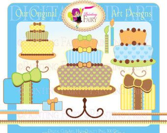Clipart Happy Birthday dessert clip art kid boy colors designer elements layout digital images personal & commercial use pf00009-2