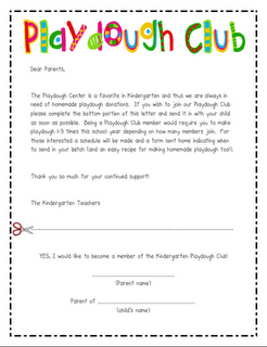 Playdough ClubInvite Parents To Join To Make Playdough For Your