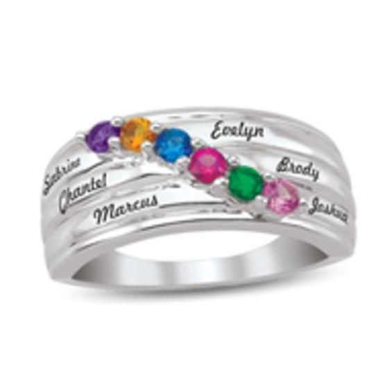 Zales Sterling Silver Mothers Bliss Family Simulated Birthstone Ring by ArtCarved (7 Stones and 1 Line) WJZci7E