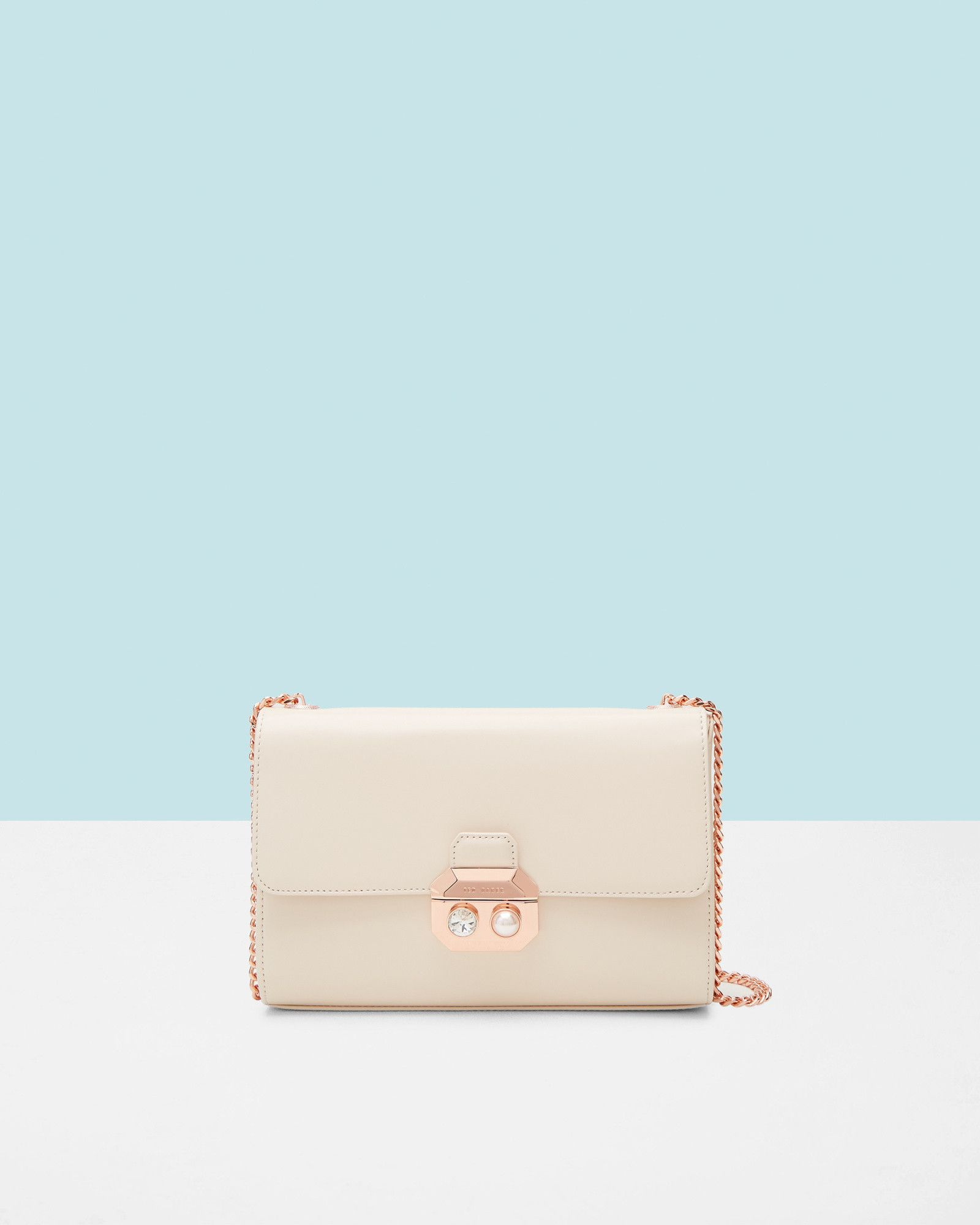 745d24c4bf0974 Crystal and pearl leather cross body bag - Natural
