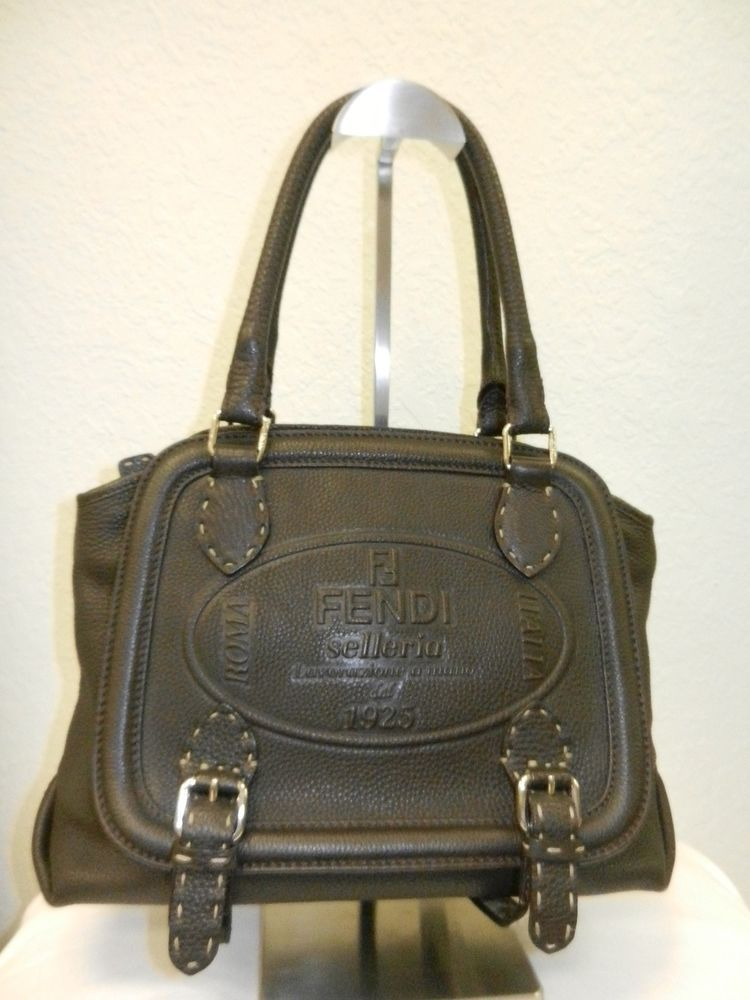 8dfb29925a Authentic Fendi Selleria Borghese Tote Handbag Signature Embossed Horse  Brown #Fendi #ShoulderBag www.relovedconsignmet.com