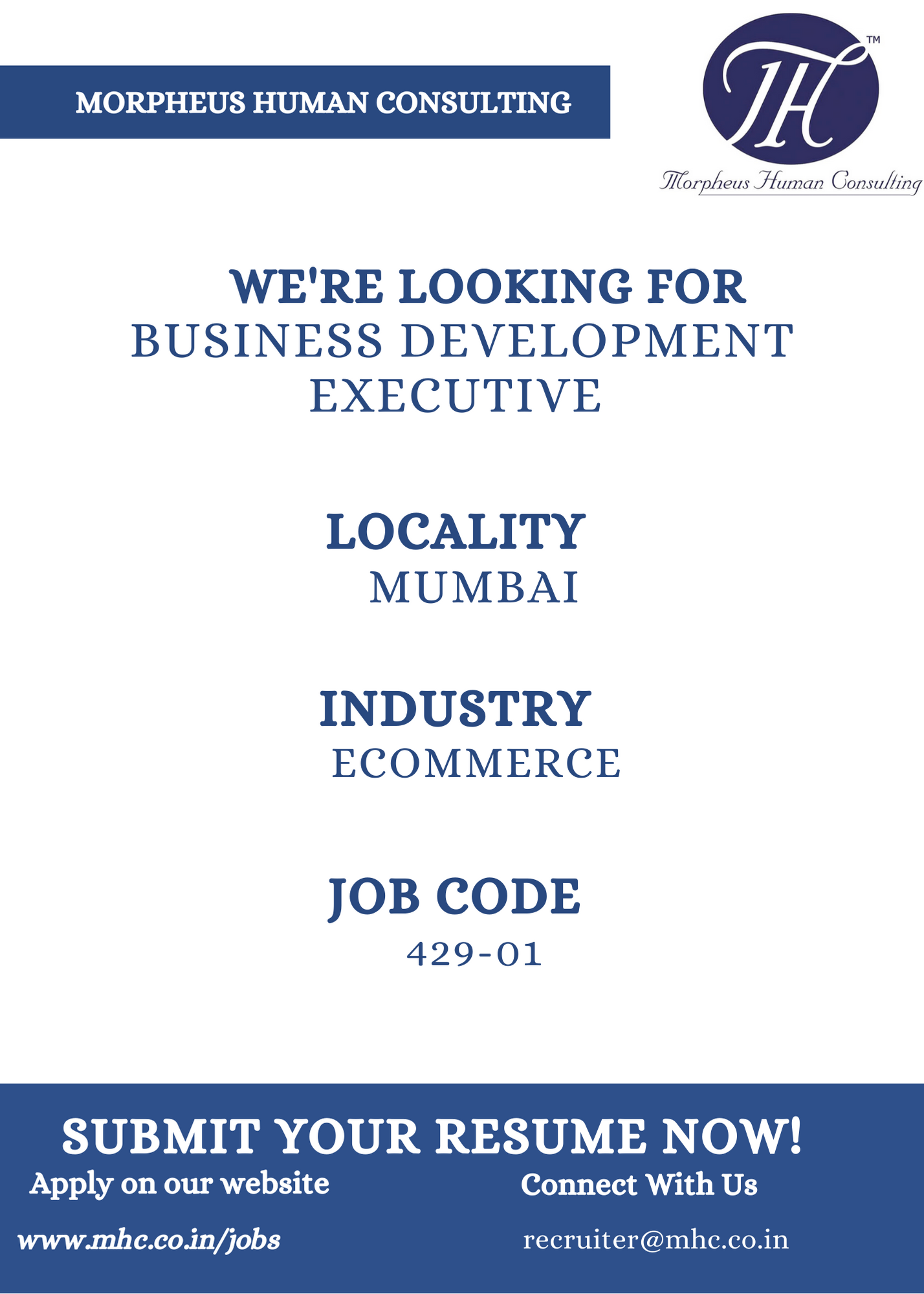 We Are Looking For Business Development Executive In Mumbai For Ecommerce Industry In 2020 Finance Jobs Business Development Marketing Skills