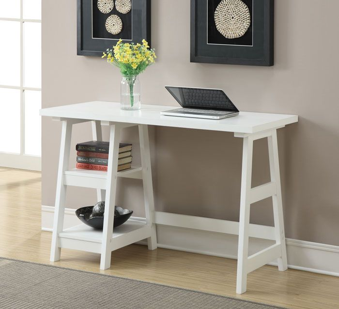 20 Perfect Desks For Small Spaces Trestle Desk White Writing