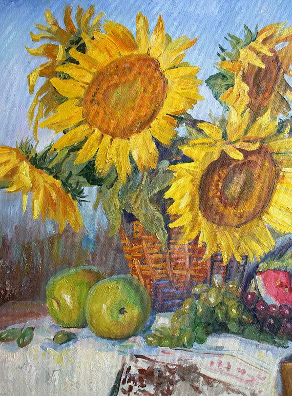 Still life flower painting Sunflower original oil painting Gift Wall ...