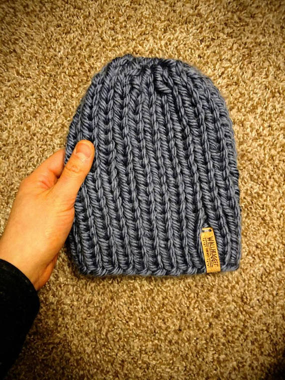 Slouchy Toddler Knit Beanie   Denim Blue Hand Knitted Toque   Warm Winter  Hat   Pom Pom Hat   Newbor 2e0abff35c8