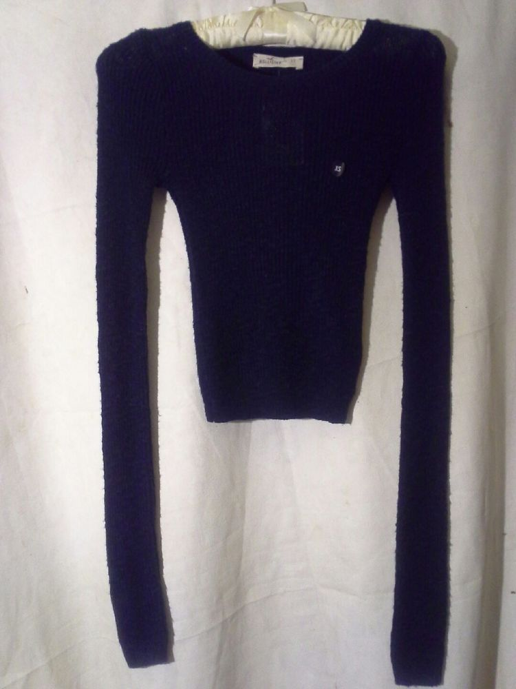 NEW! HOLLISTER Pullover Crop Long Sleeve Sweater Juniors? XS  Navy BLUE #Hollister #CroppedPullover