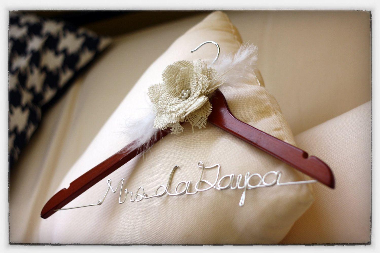 Wedding Dress Hanger with Burlap Flower Cherry Finish