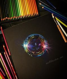 Posted by steffifreder_art : Always wanted to draw a bubble!   Prismacolor pencils on black paper.