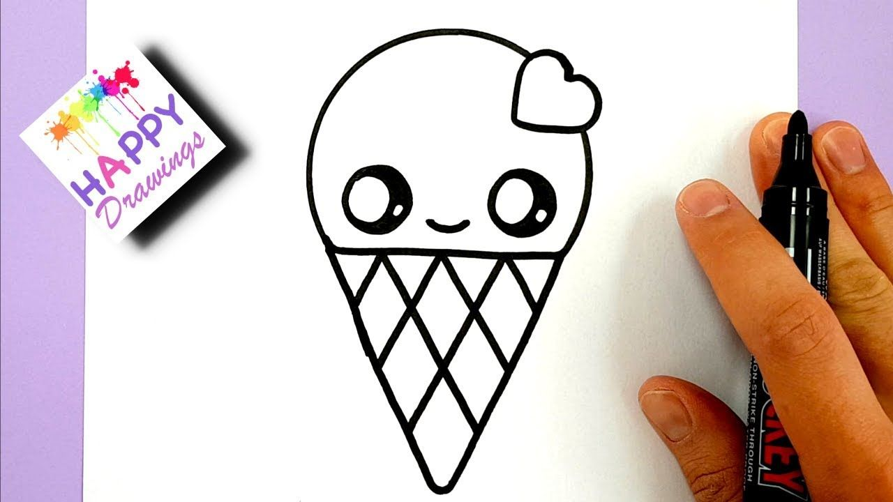 How to draw a cute ice cream with a love heart cute and