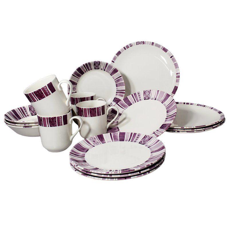 Royal Classic Stripes 16 Piece Dinnerware Set Service For 4 Dinnerware Set Dinnerware Sets Porcelain Dinnerware
