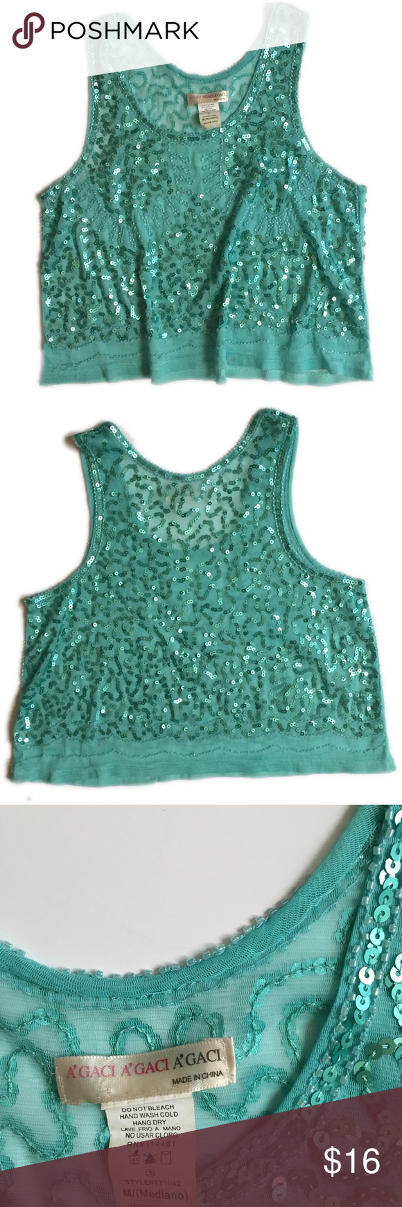 Aqua Crop Tank Top with Sequins Size Medium Bright and fun tank top. Aqua Sequins. Relaxed fit. Crop Top. Great condition - slight imperfection in Back with a few loose beads (see pic) Sheer fabric along bottom of shirt. Tops Tank Tops