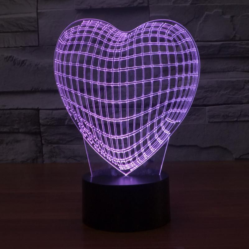 Acrylic 3d Illusion Led Lamp Heart 3d Illusion Lamp 3d Illusions Night Light