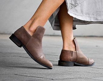 25% Christmas Sale, Francesca, Brown Leather Shoes, Asymmetric Shoes, Brown Flats, Women Shoes, Booties, Brown Ankle Boots