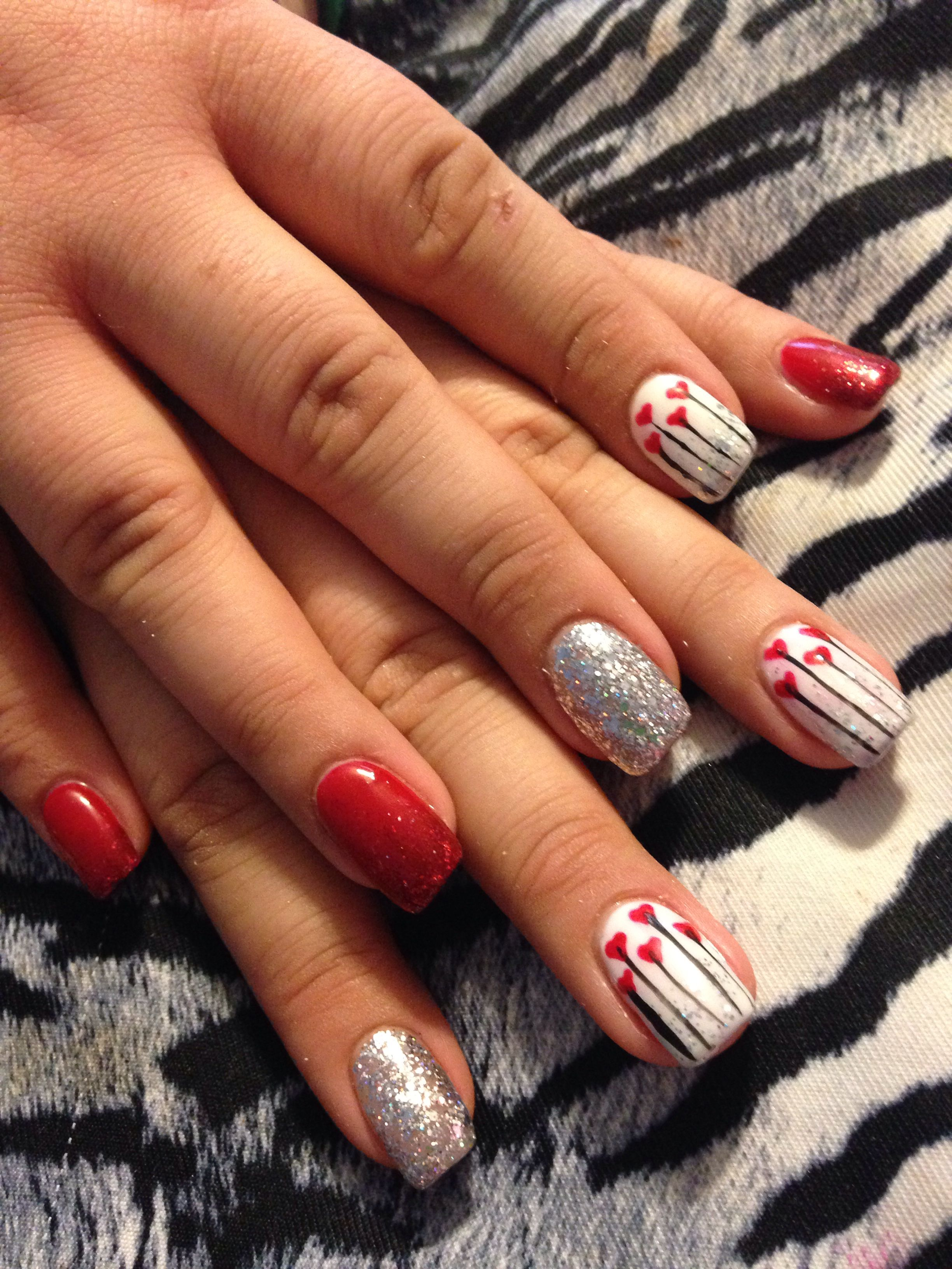 Acrylic nail design valentine's day   Sara's nail designs ...