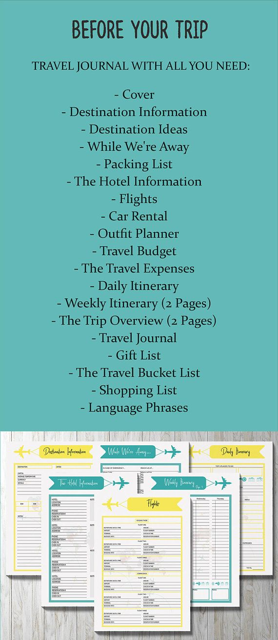 Travel Planner, Printable Planner, Vacation Planner Printable