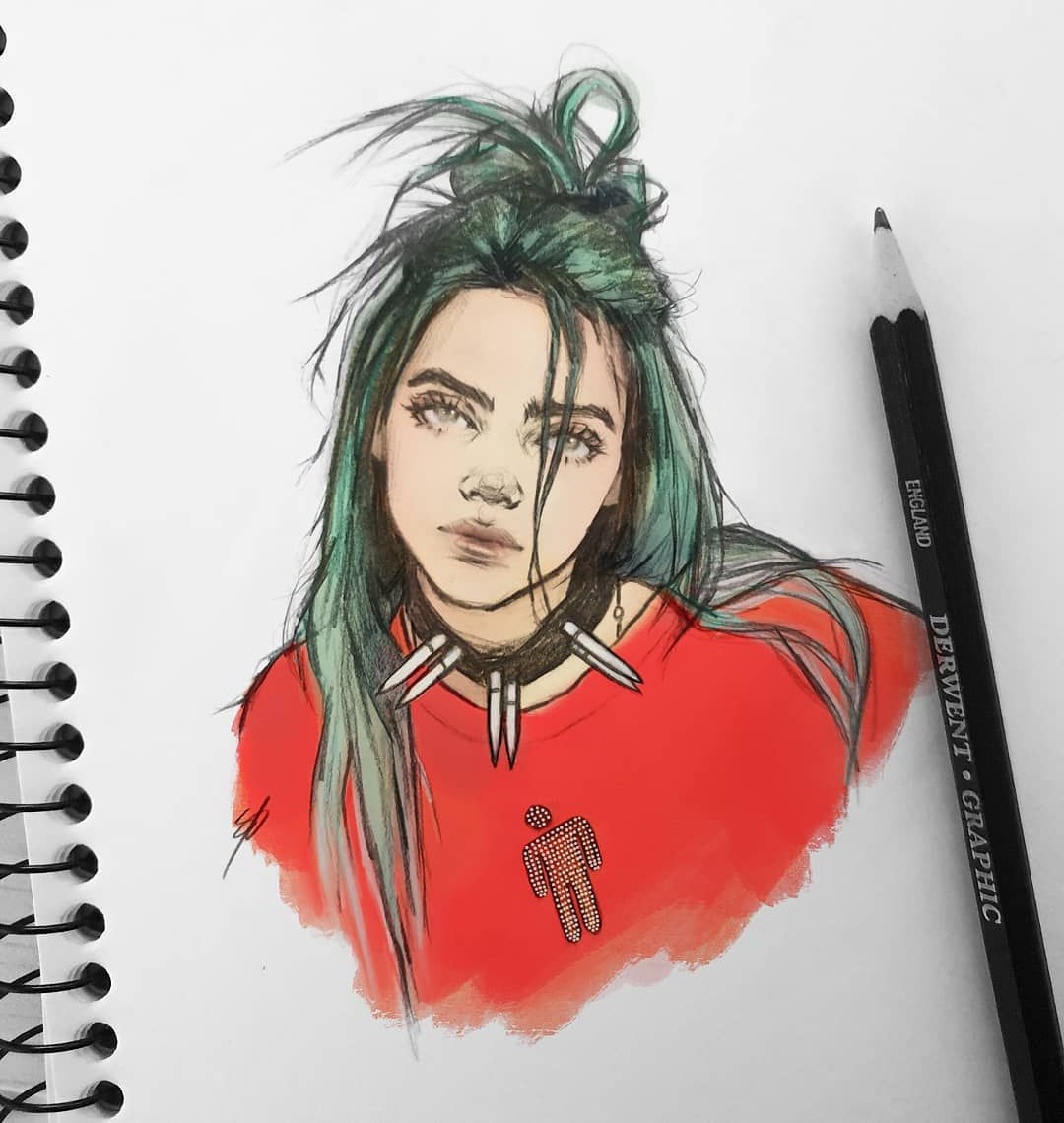 Billie Colour Version Billieeilish Billieeilishfanart Fanart Art Sketches Art Sketchbook Sketches