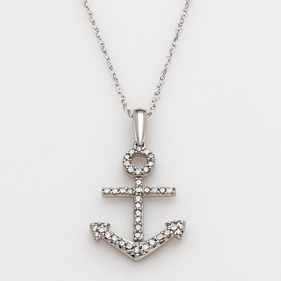 10k White Gold 1/10-ct. T.W. Diamond Anchor Pendant -   sale $225.00 - Kohls