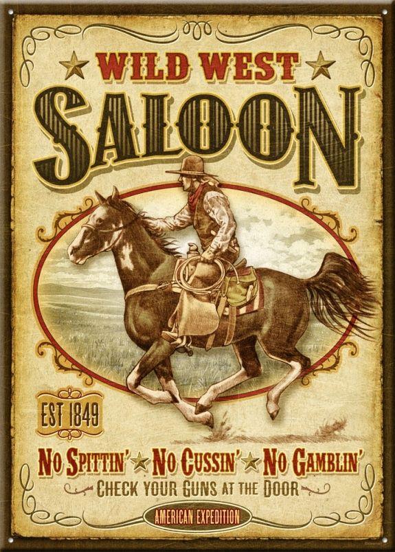 Wild west saloon large tin sign vintage tin signs wild west and vintage tins - Wild west funny ...