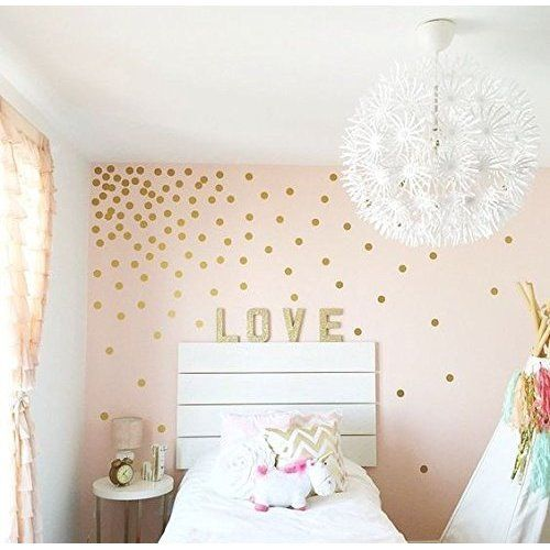 Gold Wall Decal Dots (200 Decals) | Easy Peel U0026 Stick + Safe On