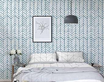 Self Adhesive Vinyl Temporary Removable Wallpaper Wall Decal Chevron Pattern Print 026 White Navy