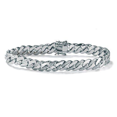 "PalmBeach Jewelry Men's Diamond Accent Platinum-Plated Curb-Link Bracelet 8 1/2"" - Fashion Jewelry"