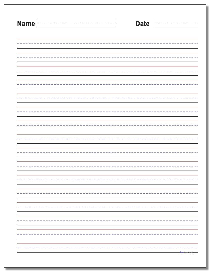 Handwriting Paper intended for Blank Four Square Writing