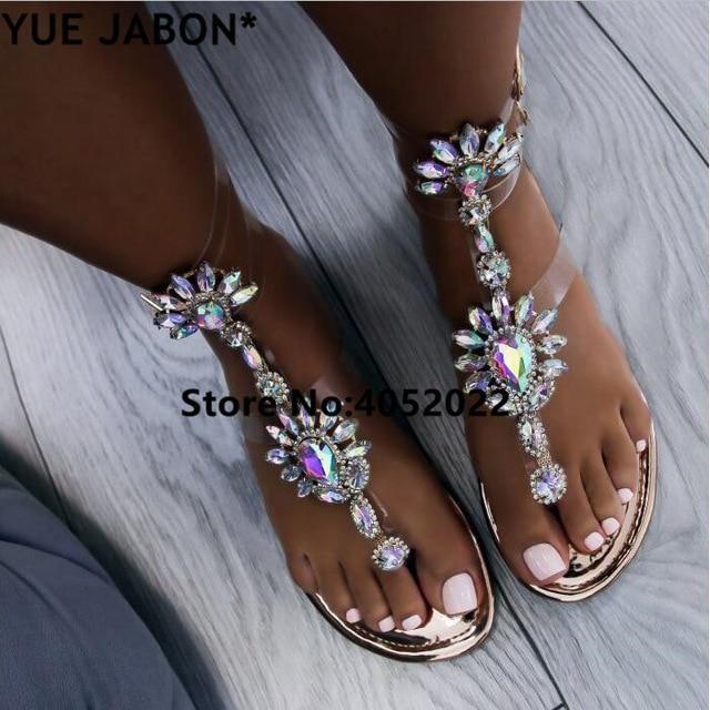 b5a37a6df YUE JABON 2018 shoes woman sandals women Rhinestones Chains Flat Sandals  Thong Crystal Flip Flops sandals