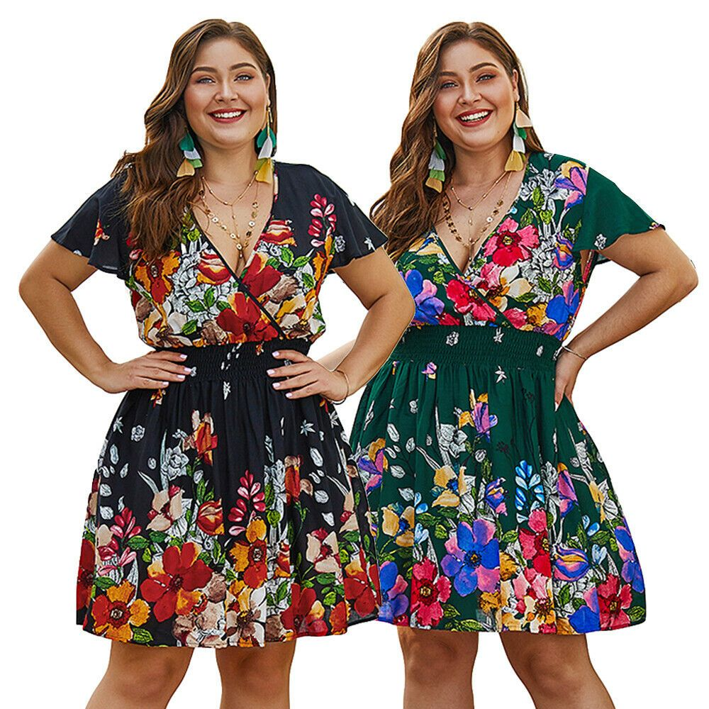 Plus Size Women Boho Mini Dresses Ladies Summer Printed Casual Beach Sun Dress