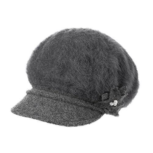 84a32022279ea Women s Angora beret in autumn and winter Cap  elegant painter hats  ladies  octagonal Cap-gray One Size