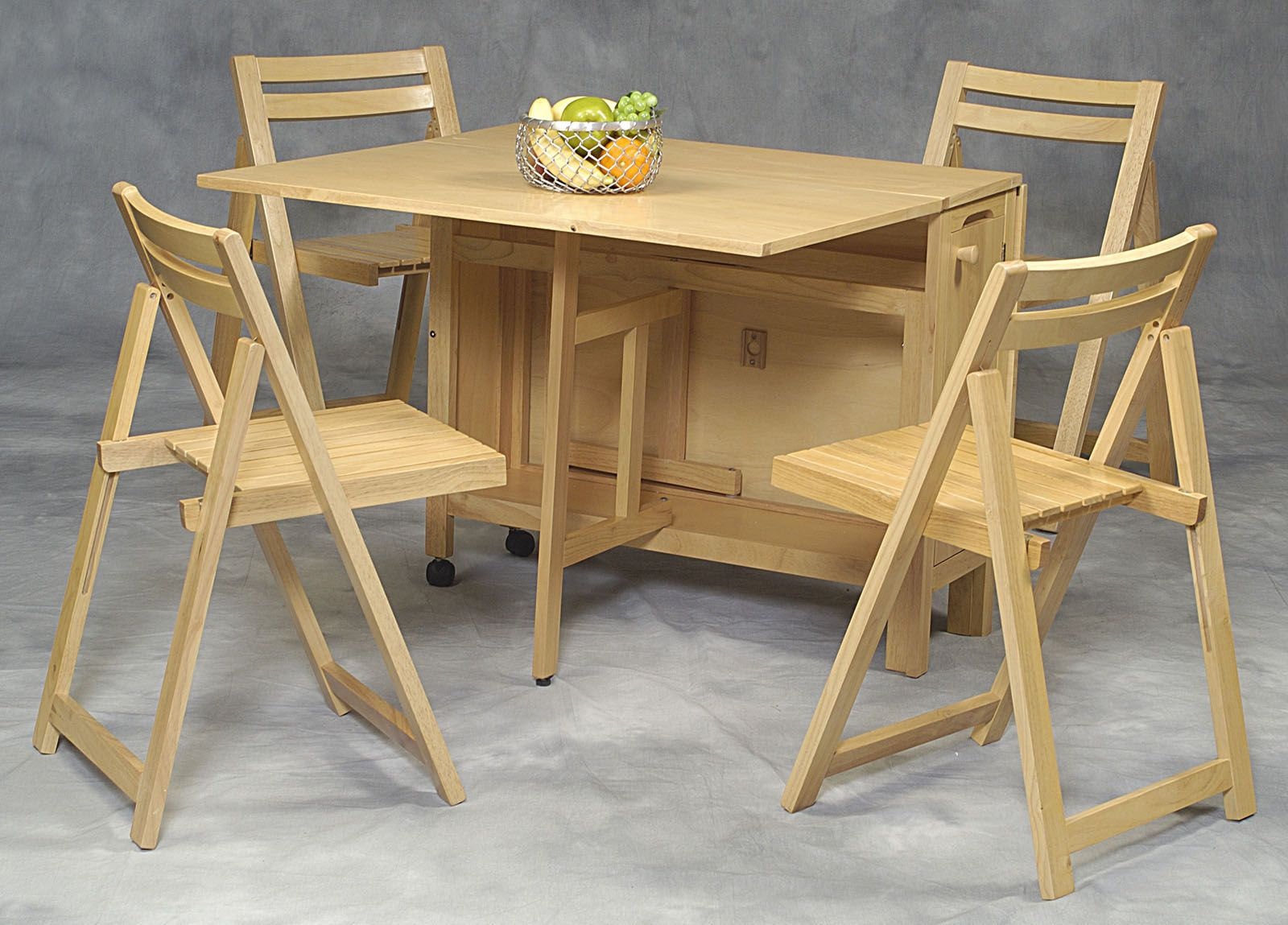 Nice 5 Pc Space Saver Wooden Table U0026 Chairs In Natural Finish   Set