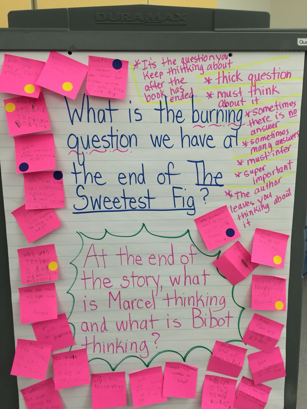 "Describing the ""burning question"" readers have at the end"