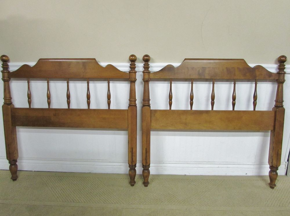 Pair Of Vintage Ethan Allen Nutmeg Maple Twin Size Headboards 10
