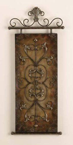 Tuscan Emossed Metal Canvas Wall Art Plaque Decor By Yuma