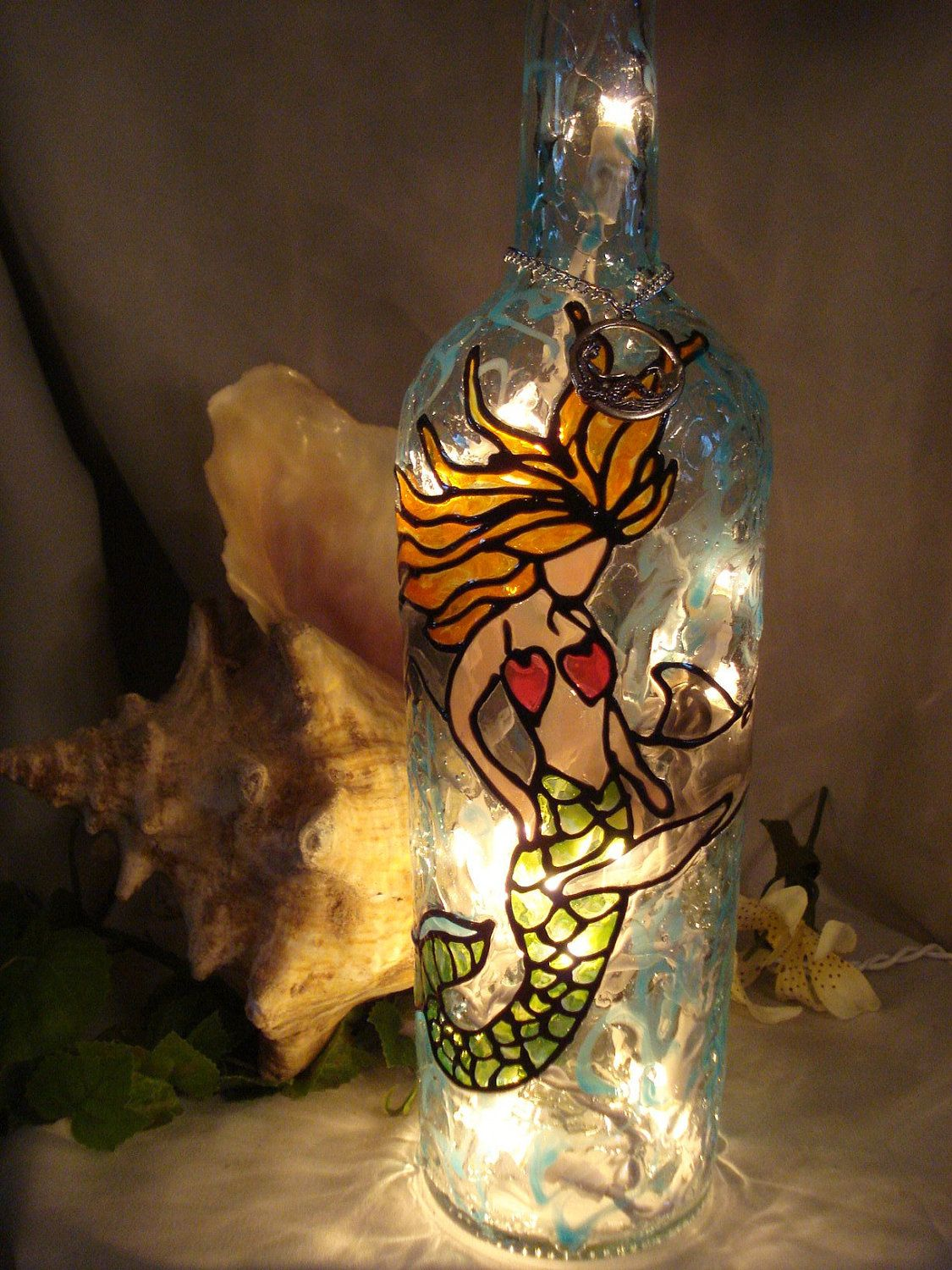 Mermaid accent lamp - Mermaid Wine Bottle Lamp By Paintingcreationsbyd On Etsy 28 95