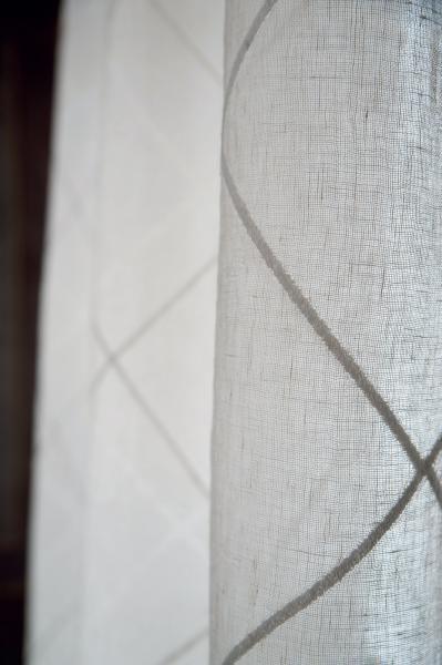 Tenda lino ricamo rombi all-over - P02 B0001 | Mastro ...