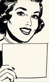 Message memo Vintage lady