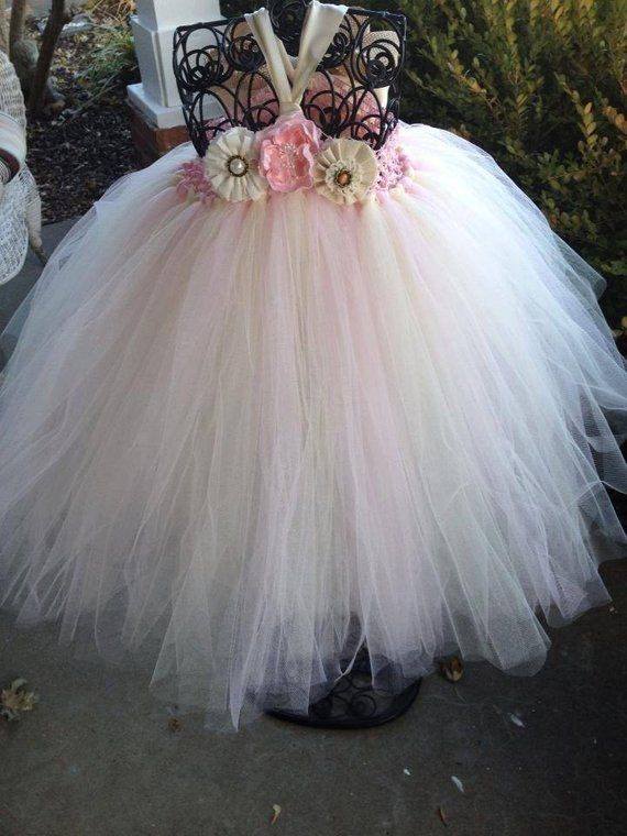 0eae992af17f Blush Pink Country Couture Flower Girl Tutu Dress  Shabby Chic ...