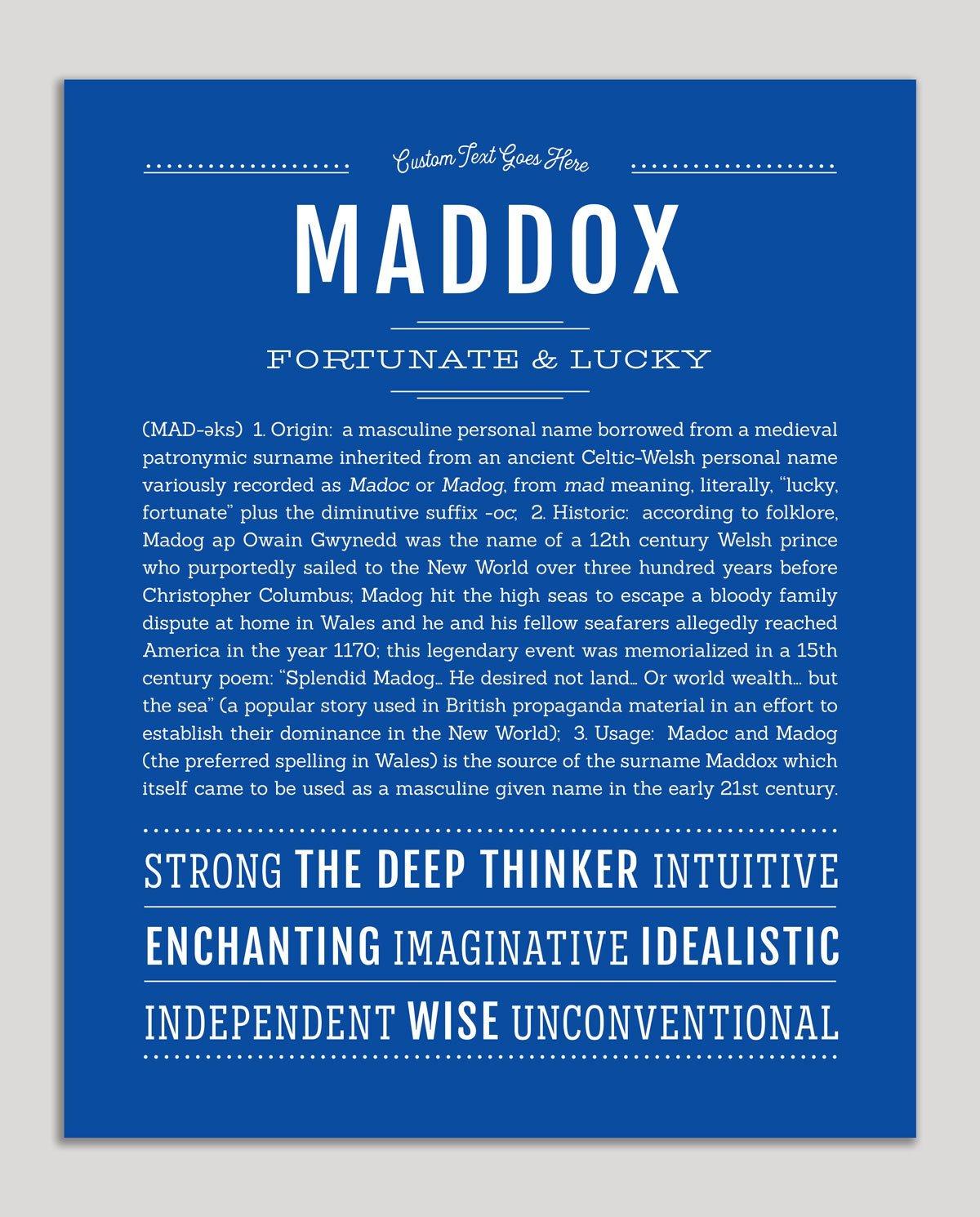 Maddox Name Art Print Personalized Art Print Classic Names Names