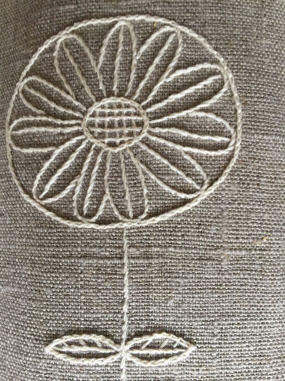 Linen placemats hand embroidery natural set 2 mantel de - Manteles de lino ...