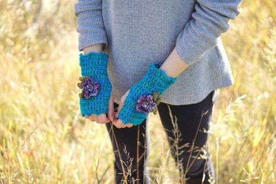 Blue Floral Fingerless Gloves Arm warmers by ValerieBaberDesigns