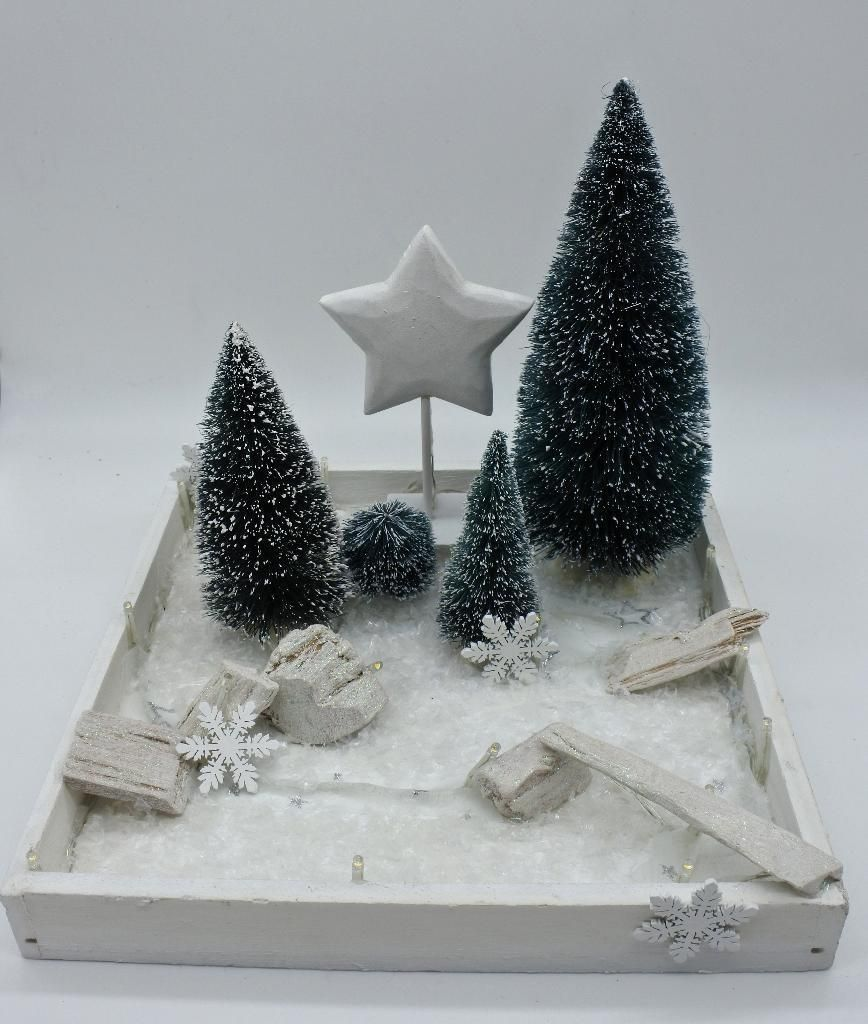 Ebay Weihnachtsdeko.Tischdeko Beleuchtet Winterlandschaft Tablett Weihnachtsdeko