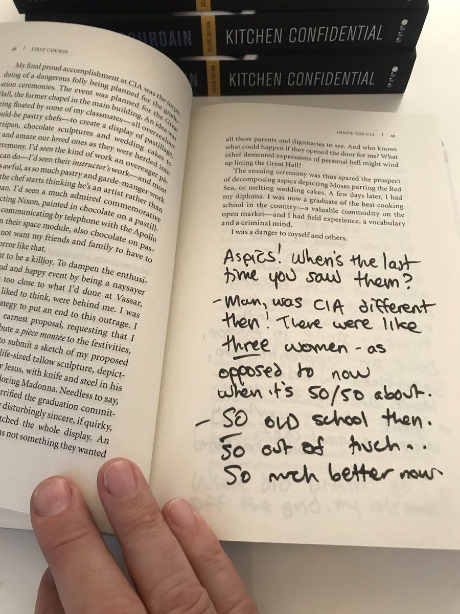 Annotated Notes By Tony Bourdain For Eric Ripert S Copy Of Bourdain S Kitchen Confidential Kitchen Confidential Notes Anthony Bourdain