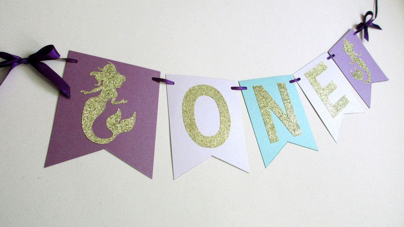 mermaid banner birthday girl
