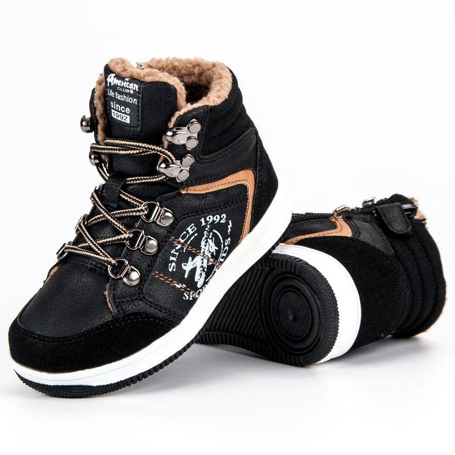 Buty Sportowe Dzieciece Dla Dzieci Americanclub American Club Czarne Ocieplane Sportowe Trampki American Boots Hiking Boots Baby Shoes