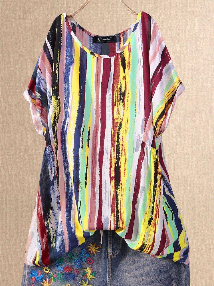 Multi Color Graffiti Short Sleeve Casual Plus Size Shirt 15