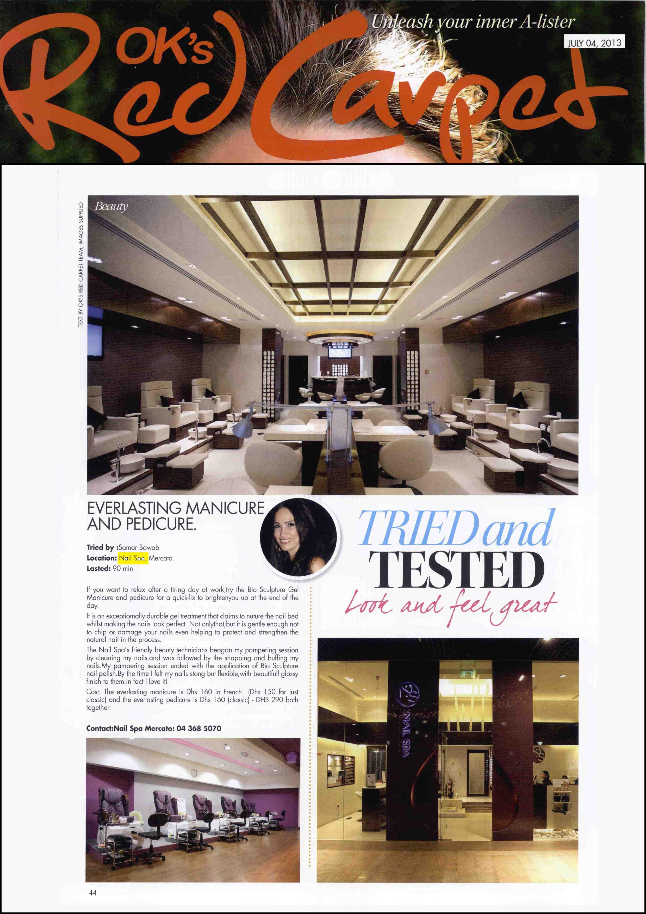 Ok S Red Carpet Magazine Jul 2013 Www Thenailspa Com Salon In Dubai Nail Spa Nail Salon Red nail salon dubai read reviews and
