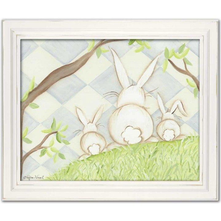 Bunny Blue Diamond In White Frame From Doodlefish 109 So Cute Bunny Artwork Huge Wall Art Canvas Frame