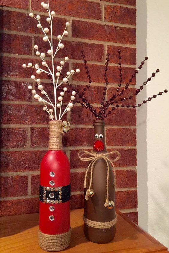 TOP 30 DIY Weihnachtsdeko Bastelideen mit Weinflaschen #dekobasteln