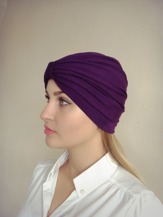 bc2f5b13 Women's turban, full turban hat, stretchy cotton jersey turban,  brownish-purple Hijab, Headband, dar