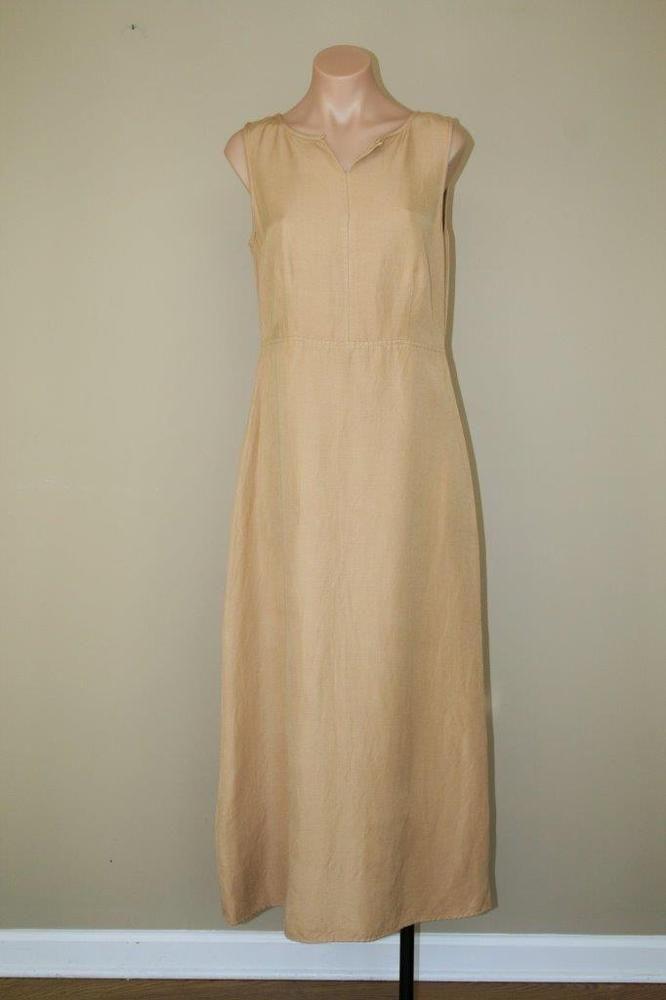 Khaki Brown Grunge Boho Hippie Linen Rayon Minimalist Long Maxi Dress sz 8 M #Talbots #Shift #Casual
